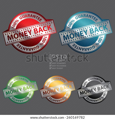 Vector : Metallic 100% Guarantee Money Back Badge, Icon, Sticker, Banner, Tag, Sign or Label - stock vector