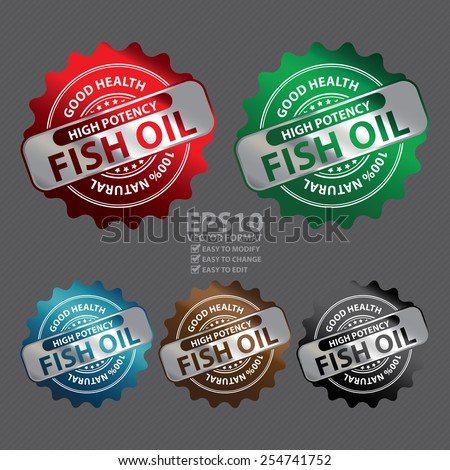 Vector : Metallic High Potency Fish Oil Good Health 100% Natural Icon, Label, Badge or Sticker - stock vector