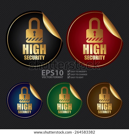 Vector : Metallic High Security Sticker, Icon or Label - stock vector