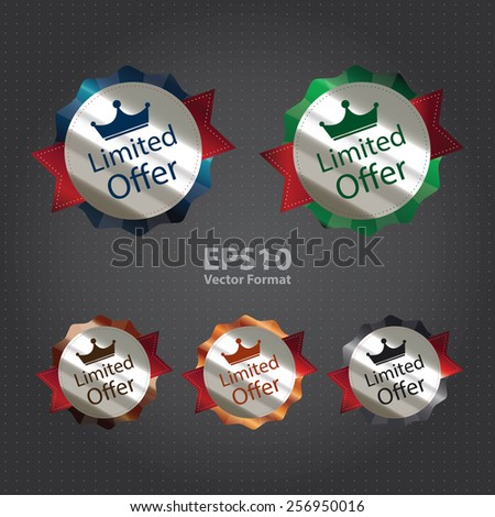 vector : metallic limited offer sticker, sign, badge, icon, label - stock vector