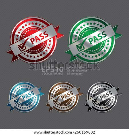 Vector : Metallic Pass Ribbon, Badge, Icon, Sticker, Banner, Tag, Sign or Label