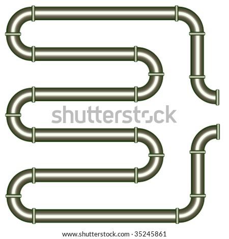 vector metallic pipe - stock vector