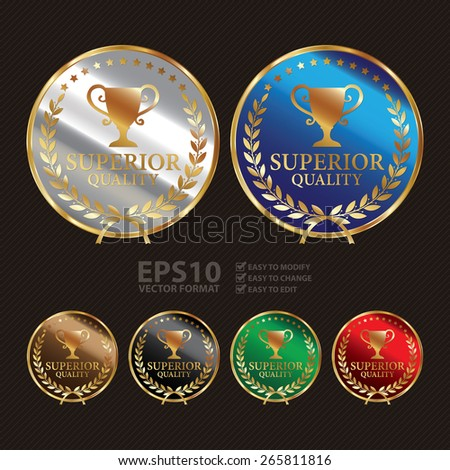 Vector : Metallic Superior Quality Label, Sticker, Banner, Sign or Icon - stock vector