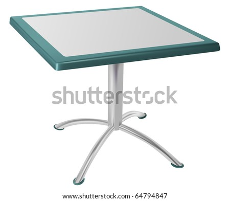 vector metallic table isolated on white background - stock vector