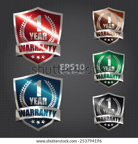 vector : metallic 1 year warranty shield sticker, badge, icon, stamp, label, banner, sign - stock vector