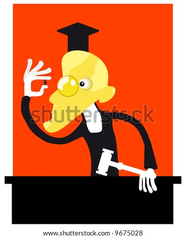Vector Metaphor of the court. Angry judge and a defendant - stock vector