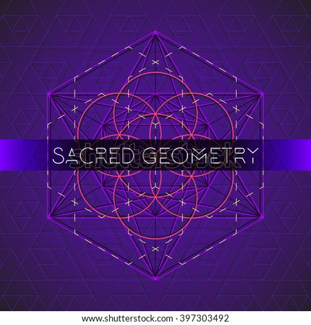vector metatron light blue contour monochrome sacred geometry decoration seed of life circle isolated dark background