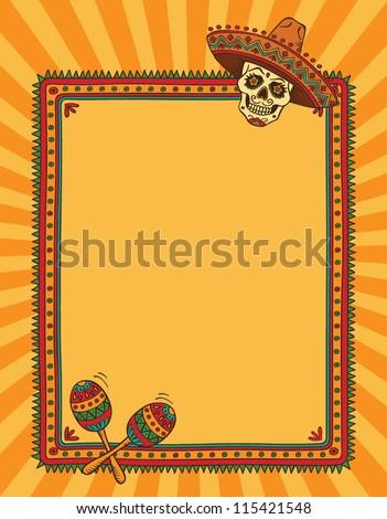 Vector Mexican Frame Skull Sombrero Vector de stock115421548 ...