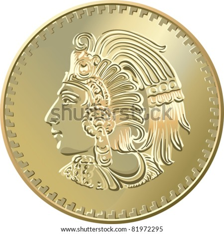 Vector Mexican money, Gold Coin with image of Indians