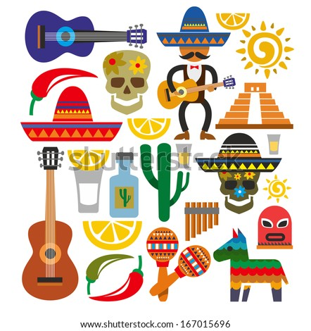 vector mexico icons - stock vector
