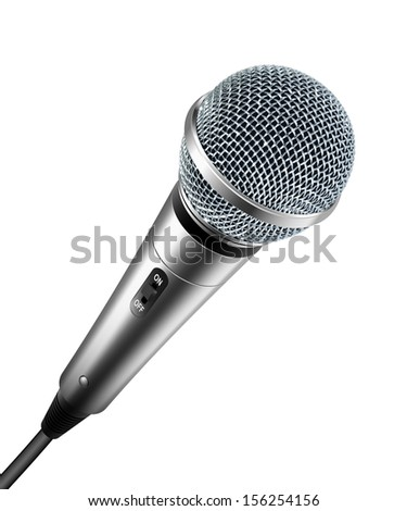 Vector microphone isolated on white - stock vector