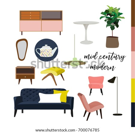 vector mid century modern furniture home house interior design 1960s 1950s style - Mid Century Modern Furniture Of The 1950s