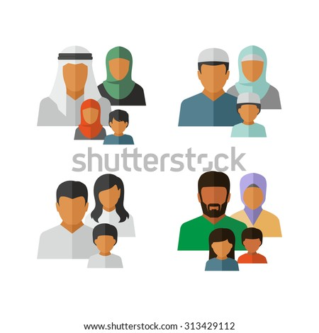 Vector Middle Eastern Family Icons - stock vector