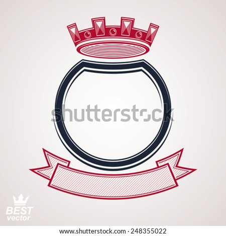 Vector military shield with pentagonal comet star, protection heraldic sheriff blazon. Forces graphical coat of arms.  - stock vector