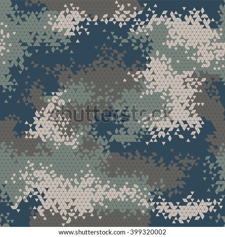 Vector military triangle camouflage seamless pattern. Vector illustration can be used for wallpaper, pattern fills, web page background, print on fabric or wrapping paper. Navy color combination - stock vector