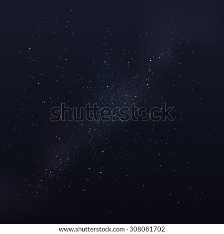 Vector milky way, vector night sky with stars - stock vector
