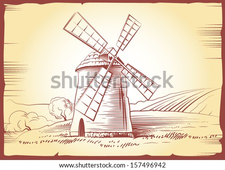 Vector mill on field. For labels, pack - stock vector