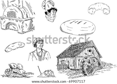 vector - miller and baker set of their jobs - stock vector