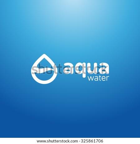 Vector Mineral Bottled Spring water logo design in Blue background - stock vector
