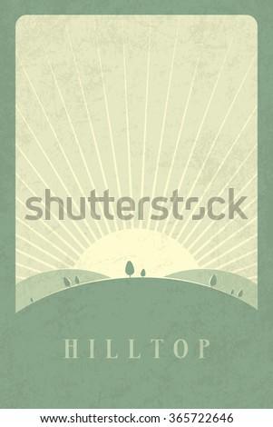 Vector Minimal Poster: Hilltop - stock vector