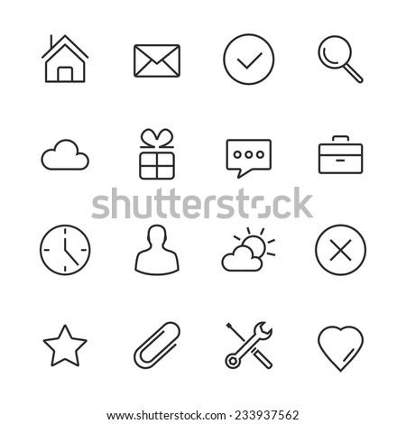 Vector Minimalism Style Design Black Icons Set. Isolated on white background. - stock vector