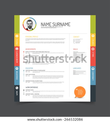 Vector minimalist cv / resume template - color version with a profile photo - stock vector