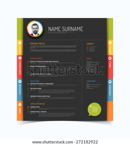 Vector minimalist cv / resume template - color version with a profile photo - dark gray background - stock vector