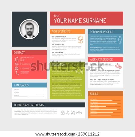 Vector minimalist cv / resume template dashboard profile - stock vector