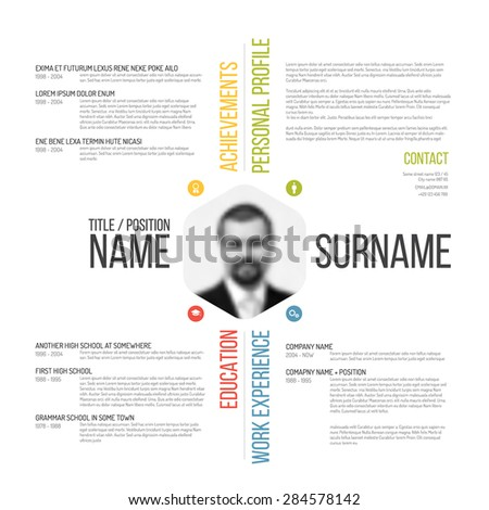 Vector minimalist CV / resume template design - stock vector