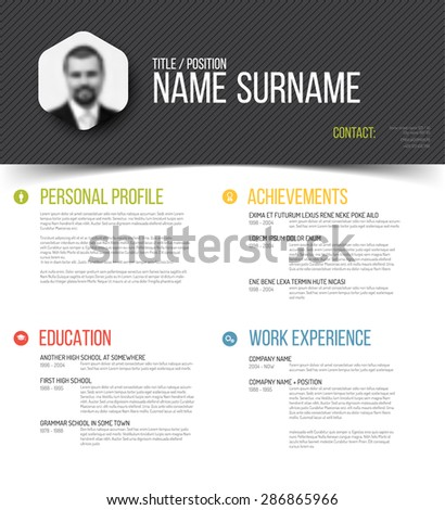 Vector minimalist cv / resume template design with profile photo - stock vector