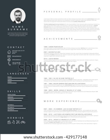 Vector minimalist cv resume template nice 429177148 vector minimalist cv resume template with nice typogrgaphy design yelopaper Gallery