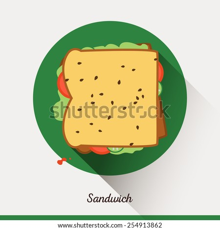Vector minimalist food icon. Sandwich with tomatoes, lettuce, sesame seeds, cucumbers.  Toast in a flat style, office snack. - stock vector