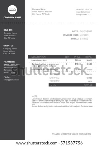 black invoice template