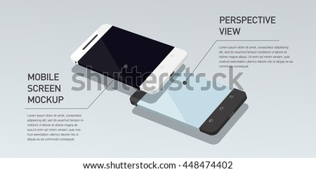 Vector minimalistic 3d isometric illustration cell phone. perspective view. Mockup generic smartphone. Template for infographic or presentation UI design. Concept graphic, UIX, web banner. - stock vector