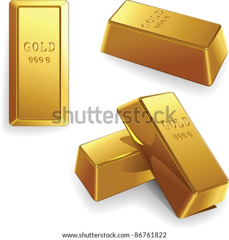 vector minted gold bars at different angles isolated on white background - stock vector