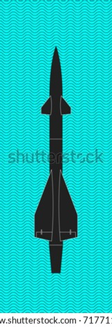 vector missile rocket with wave pattern on background - stock vector