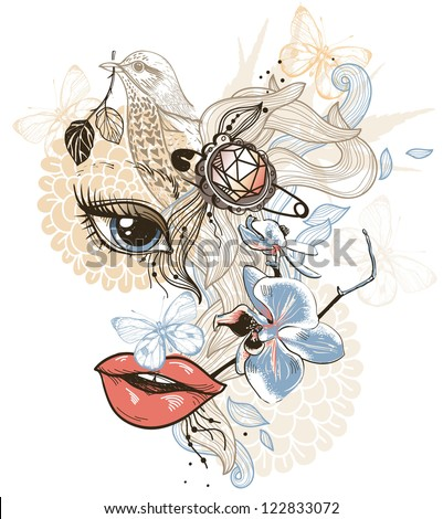 vector mix of an abstract girl , birds and flowers - stock vector