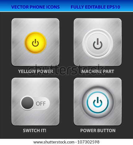 Vector mobile app icon set. Power buttons