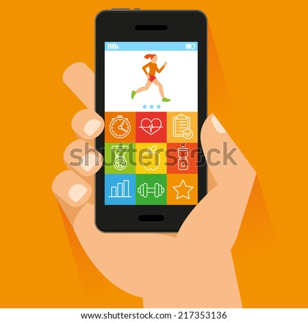 Vector mobile phone and hand in flat style - fitness app concept on touchscreen - stock vector