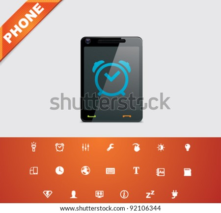 Vector mobile phone applications icon set - stock vector