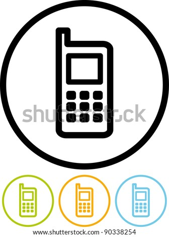 Vector mobile phone icon - stock vector