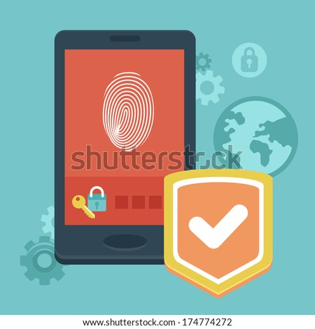 Vector mobile phone security - concept with icons in flat style - data protection and user identification - stock vector
