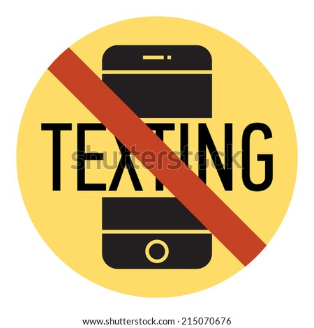Vector mobile phone using and texting restriction round sign with yellow background | Texting is not allowed | No texting | Cell phone using is prohibited - stock vector