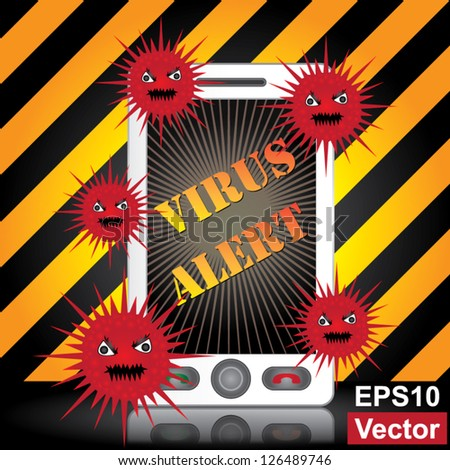 Vector : Mobile Phone Virus Concept Present By White Smart Phone With Red Virus and Yellow Virus Alert Text on Screen in Caution Zone Dark and Yellow Background - stock vector