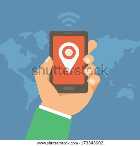 Vector mobile phone with check in mark - geotargeting concept in flat style - stock vector