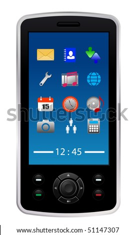 vector mobile phone with icons - stock vector