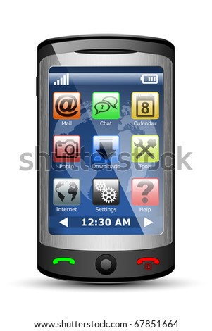 Vector Mobile phone with icons on the touch screen - stock vector