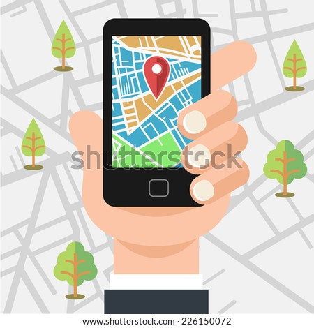 Vector mobile phone with map illustration - stock vector