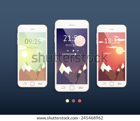 Vector mobile phones with three different backgrounds: morning, evening and night. Phone mockup - stock vector