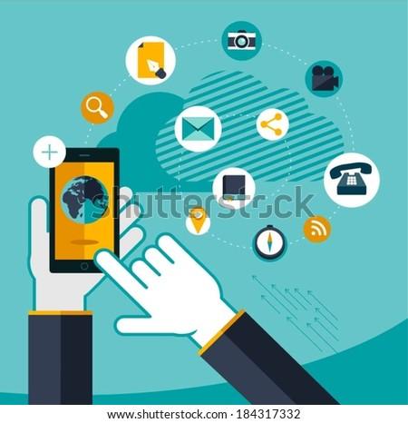 vector mobile service concept illustration - stock vector